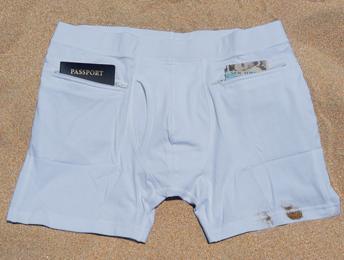 Mens underwear with zipper pockets